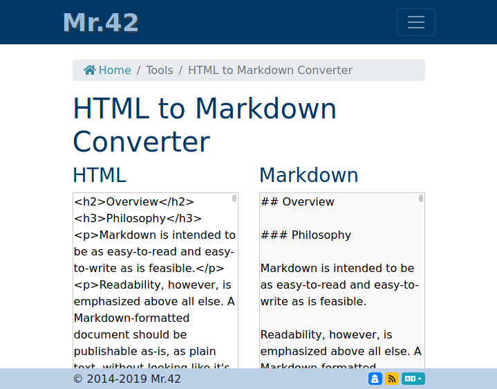 Homepage of Mr.42's HTML to Markdown Converter